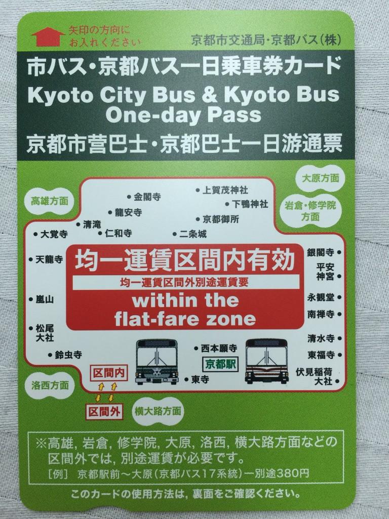 市バス・京都バス一日乗車券カードでお得な観光