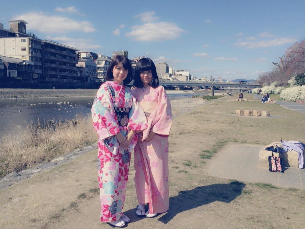 京都祇園白川の桜と着物レンタル2016年3月26日19