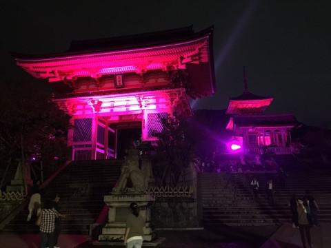清水寺2016 祈りとエールのピンクイルミネーション2