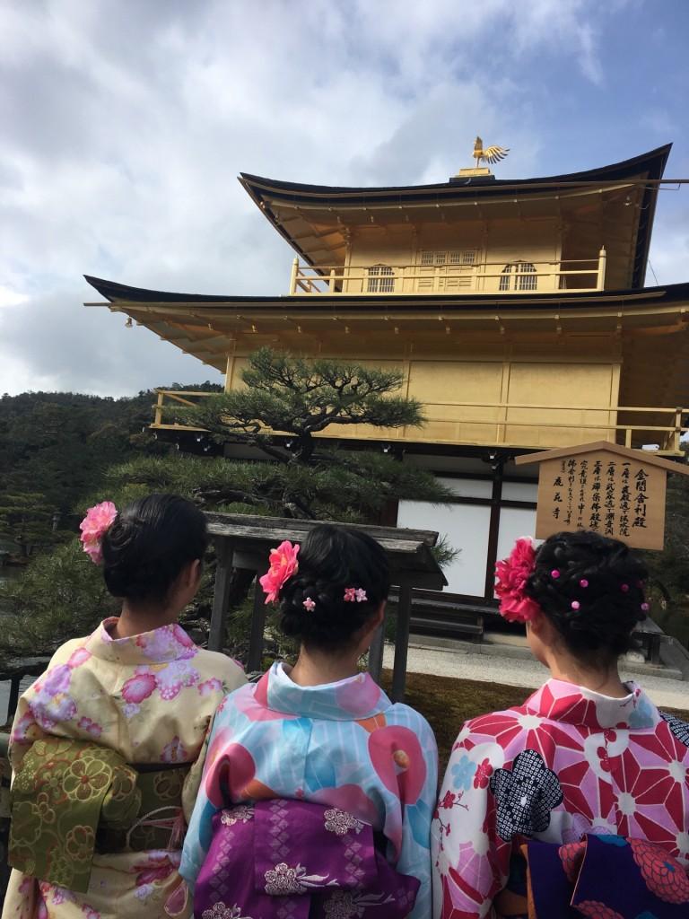 台湾からの留学生と着物レンタルで金閣寺へ❣2018年2月3日2