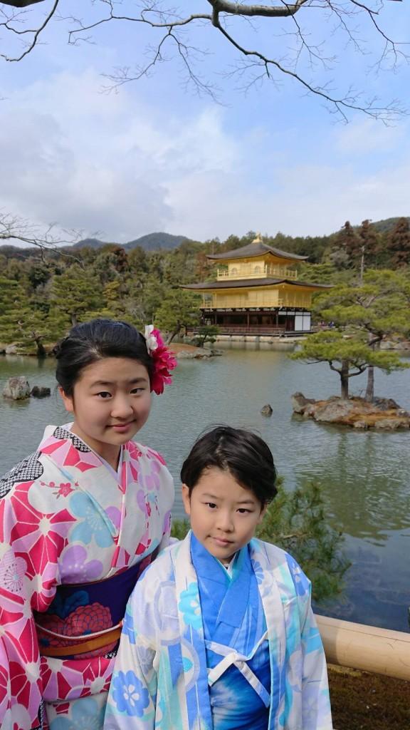 台湾からの留学生と着物レンタルで金閣寺へ❣2018年2月3日3