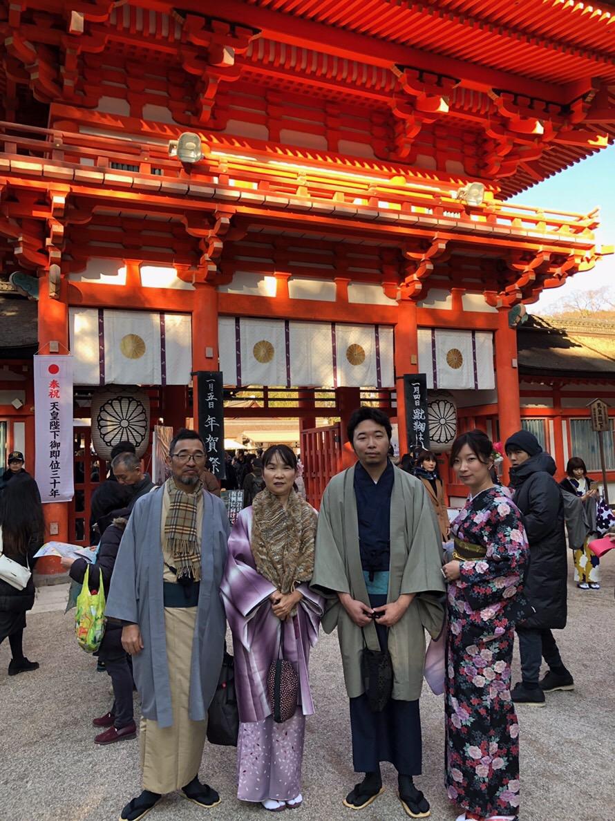 家族で下鴨神社の蹴鞠初めへ2019年1月4日3