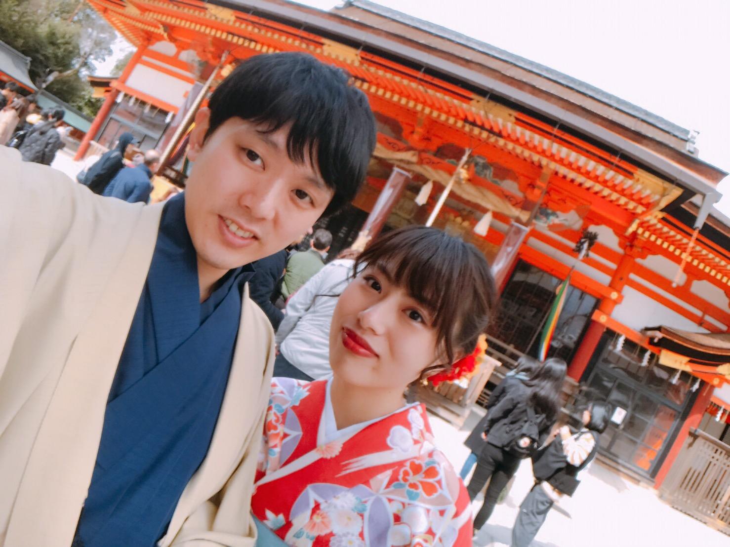 卒業旅行に着物で伏見稲荷大社へ♪2019年3月13日10
