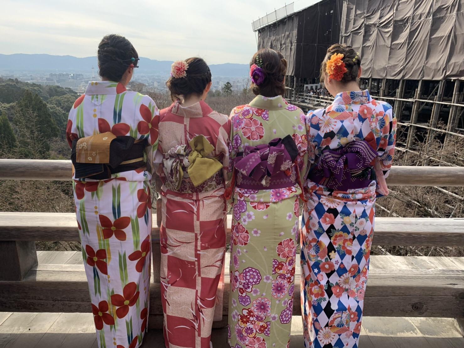 着物を着て、皆で二条城で記念撮影♡2019年3月20日1