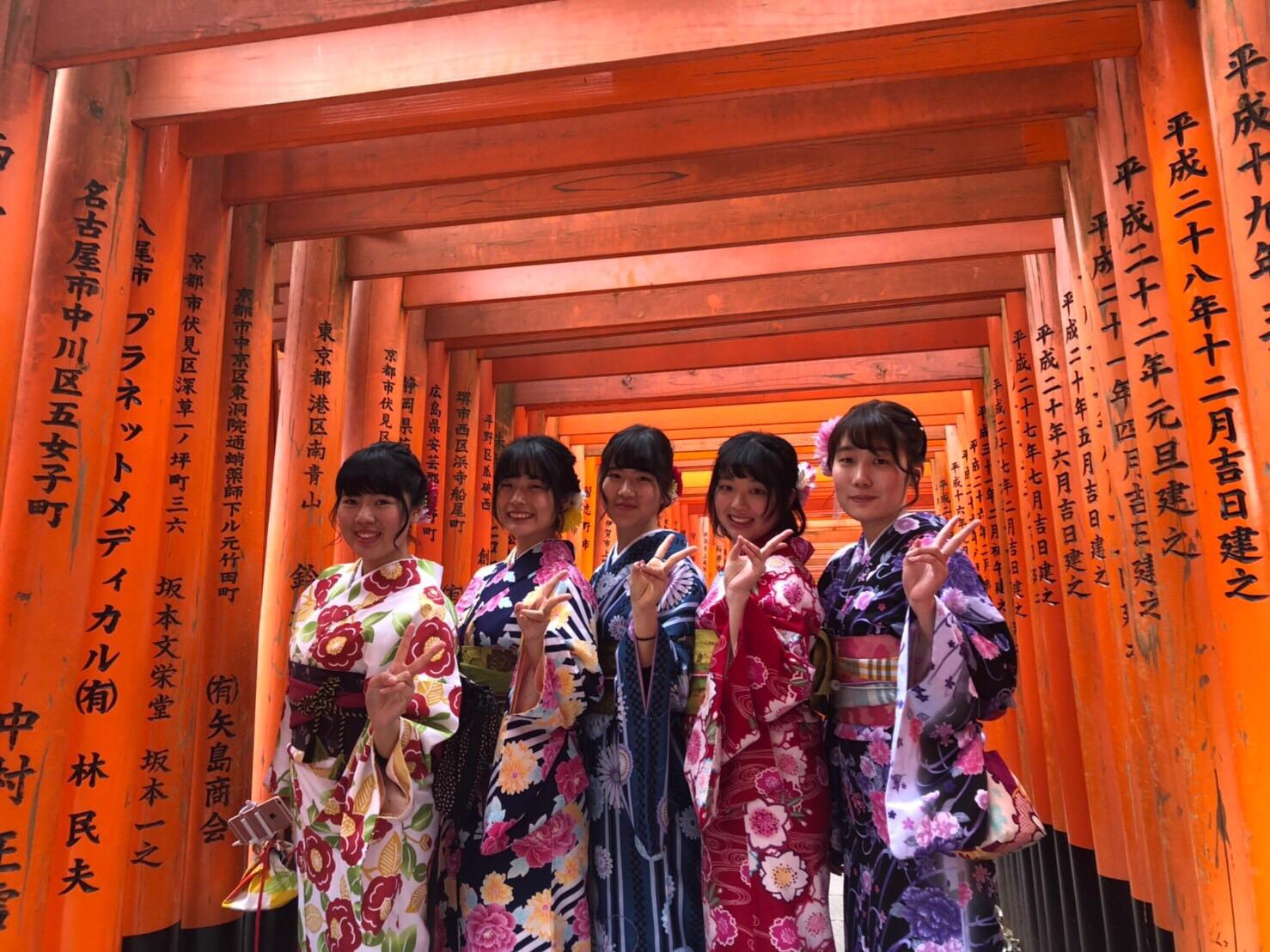 卒業の思い出に着物で伏見稲荷大社へ♪2019年3月19日4