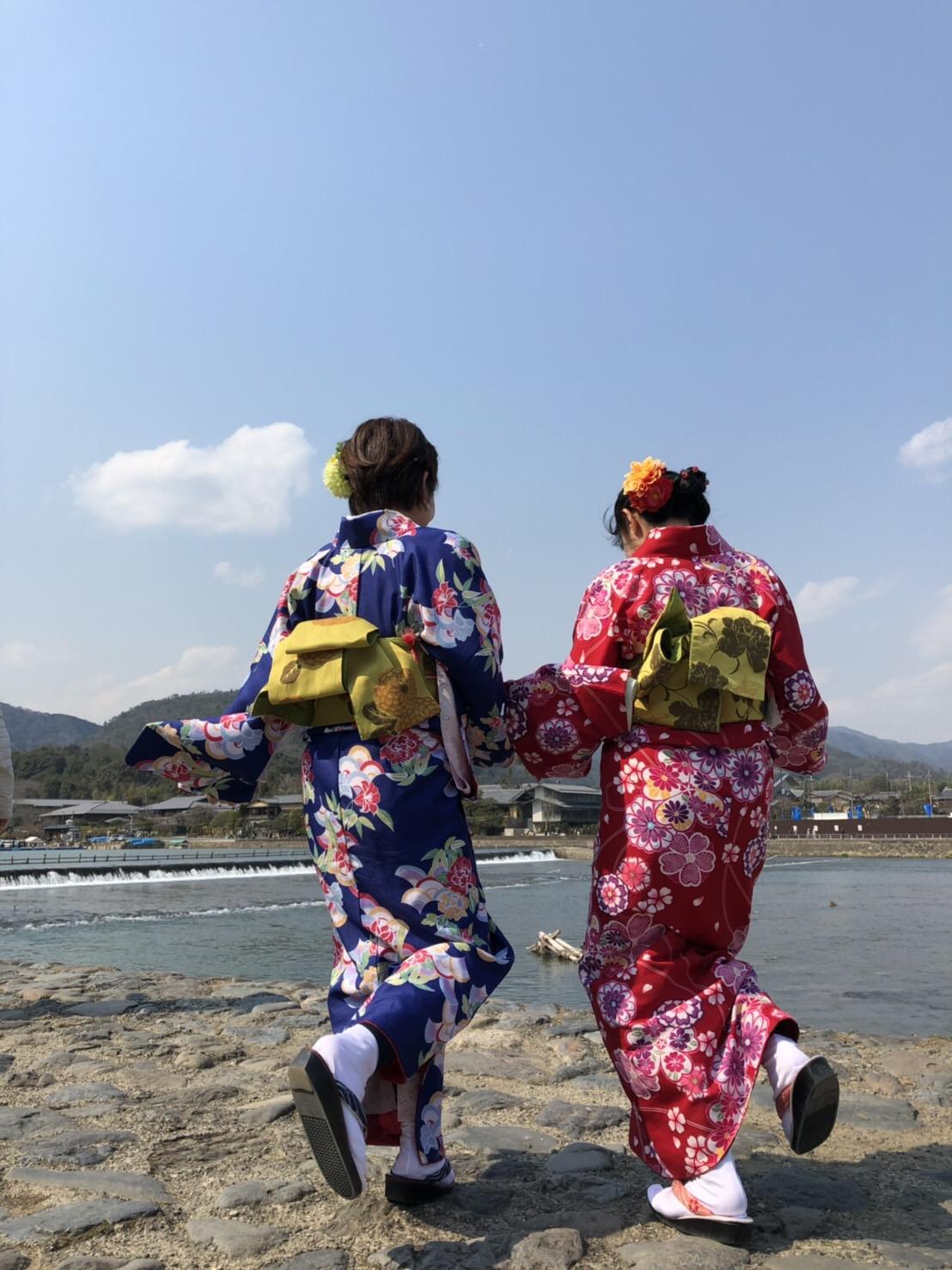 彼のお誕生日に着物で嵐山へ♡2019年3月15日10