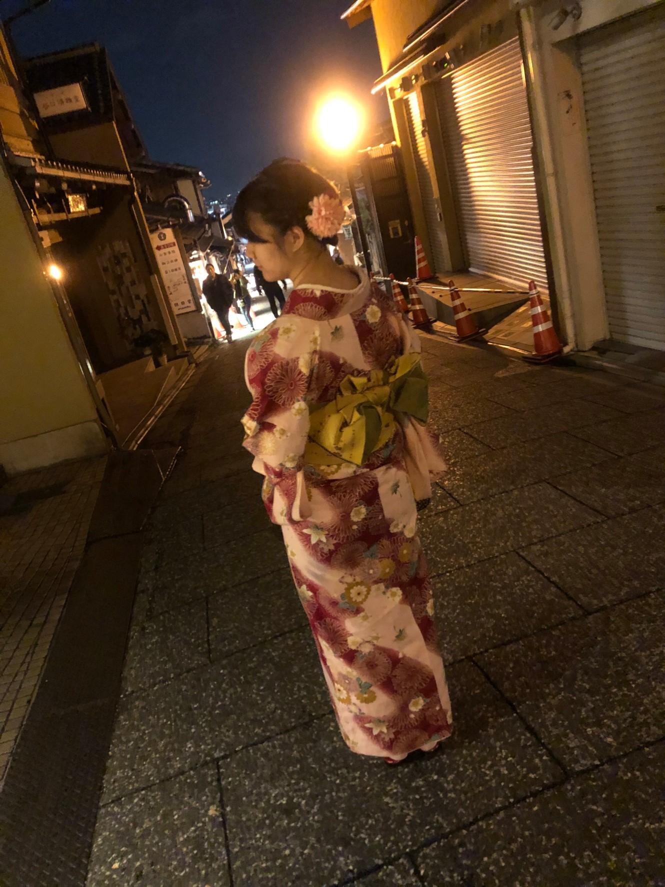 夜の京都を着物で2019年11月11日4