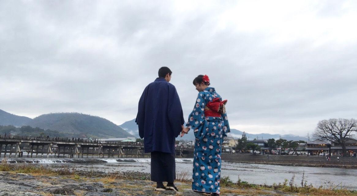 冬休みに着物で嵐山へ♪2019年12月30日3